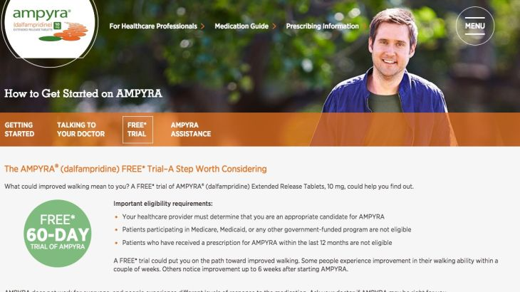 Ampyra's promotion of free product trial to patients
