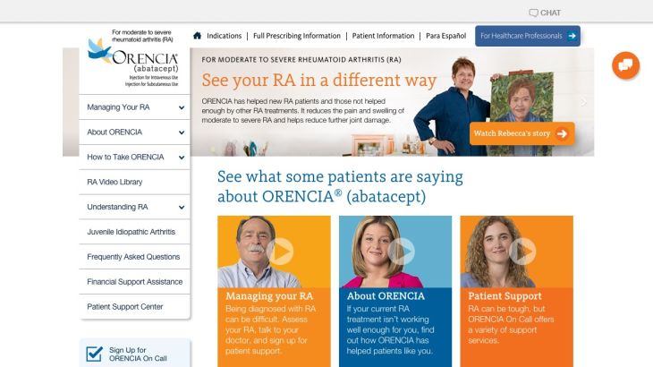 Orencia homepage for patients