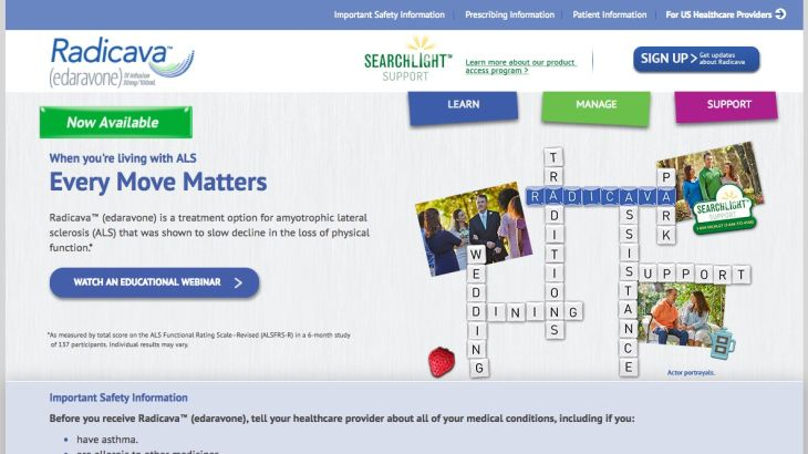 Radicava Patient Homepage Screenshot