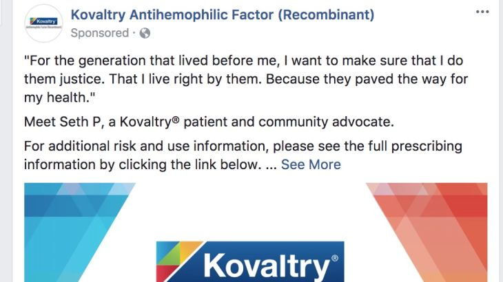 Kovaltry Pharma Sponsored Facebook Post/Ad - Video