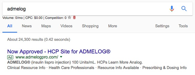 Pharma Day 1 HCP Paid Search Ad