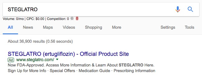 Day One Website Paid Search Ad - Steglatro