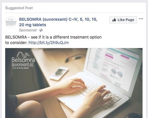 Pharmaceutical Sponsored Post on Facebook - Belsomra