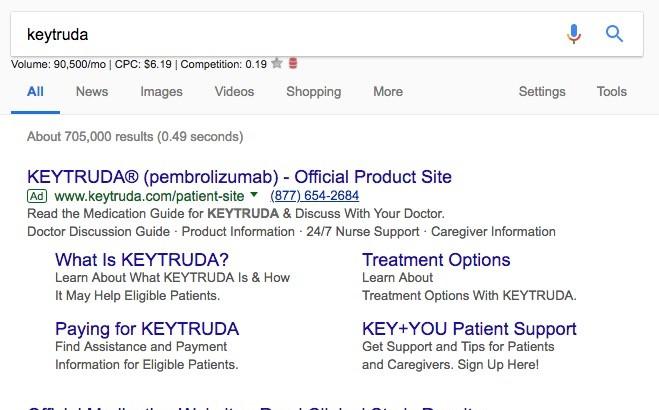 Pharma paid search ad example