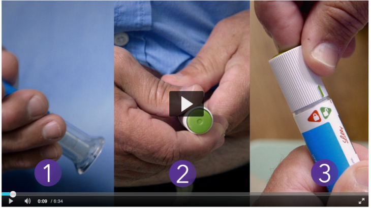 Injection training video for patients