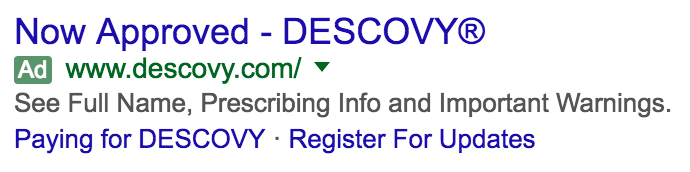 Descovy Branded Paid Search Ad