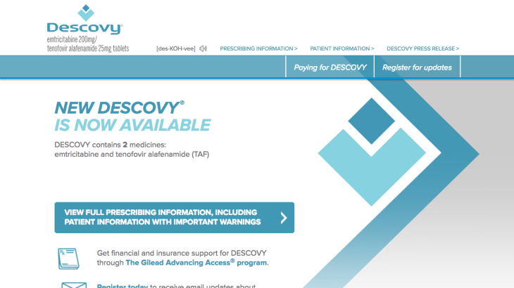 Descovy Now Available Pharma Landing Page: Homepage