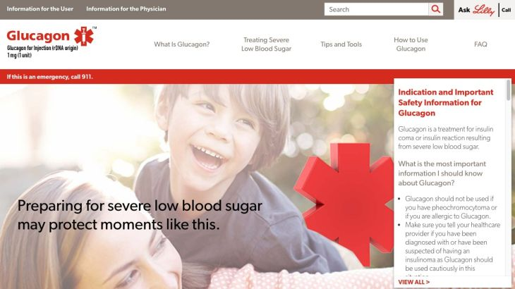 Highly visual pharma website: Homepage - Lilly Glucagon