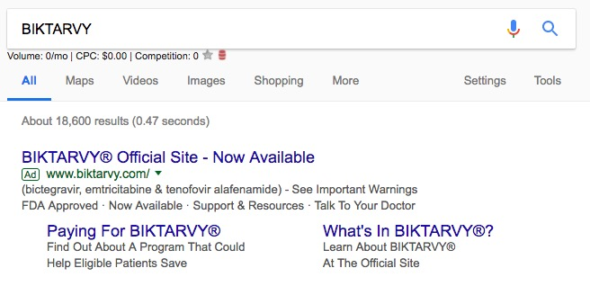 Biktarvy Now Approved Paid Search Ad
