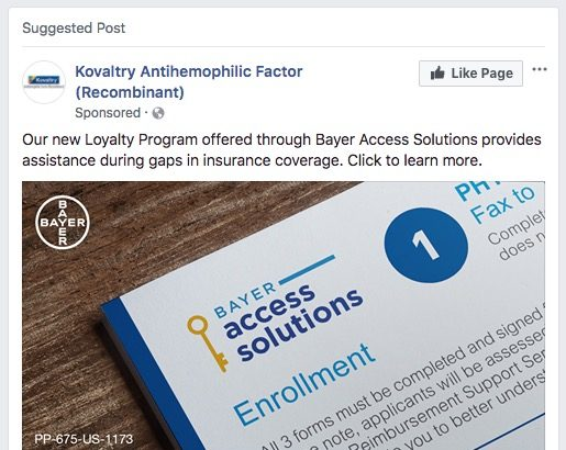 Sponsored Facebook Ad for Pharma Brand Advertising Patient Loyalty Program
